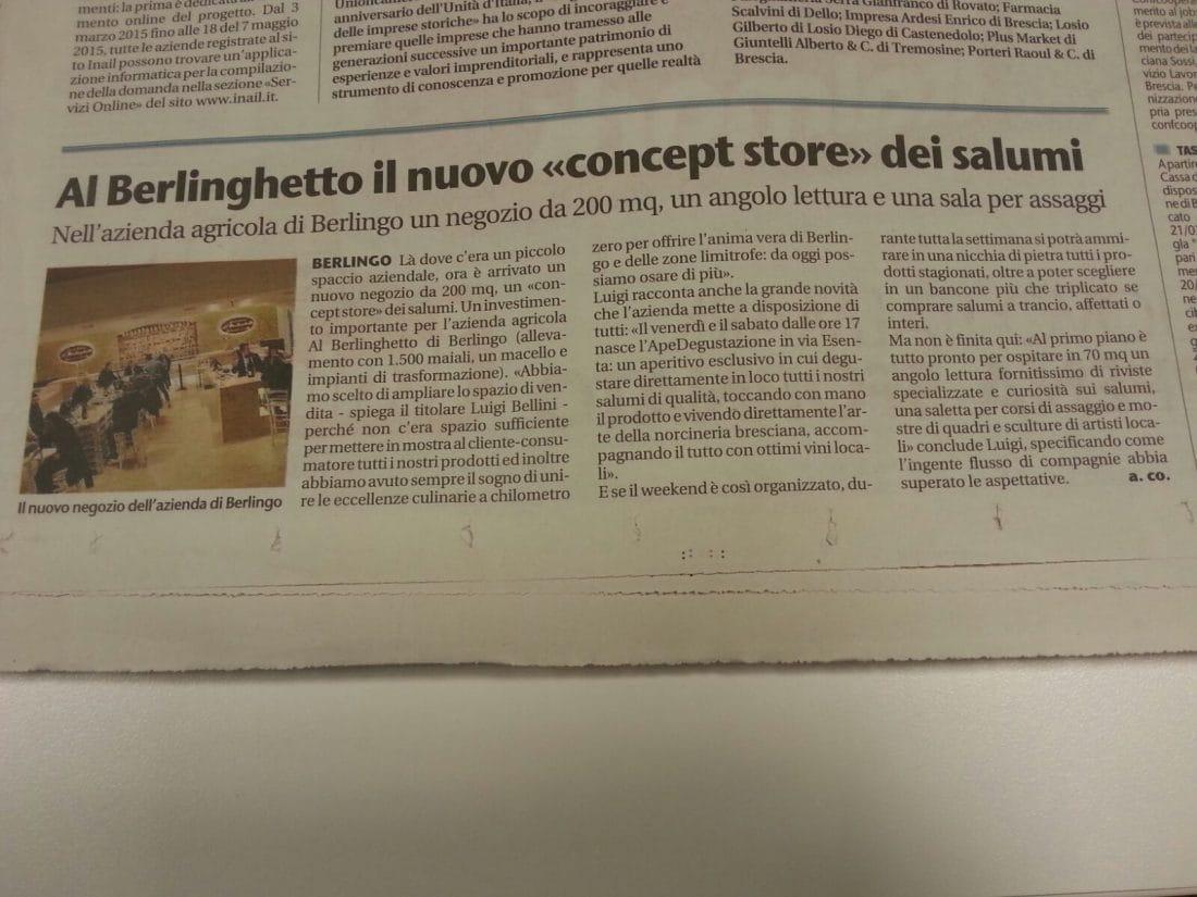articolo giornale di brescia concept store alberlinghetto
